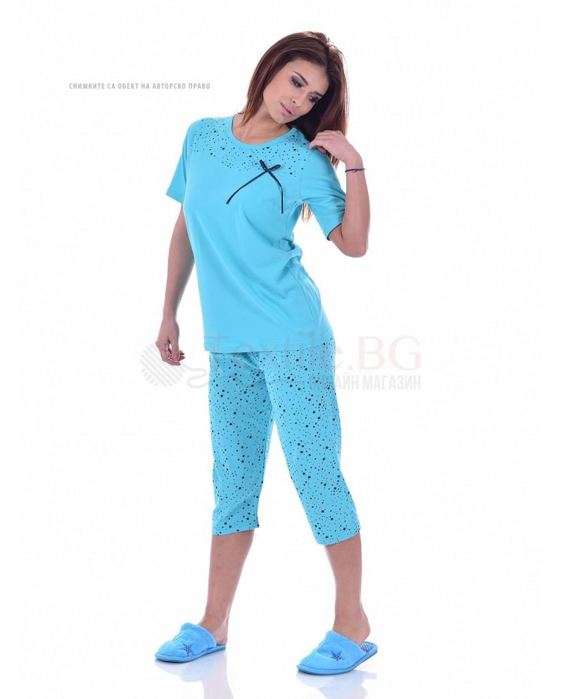 Памучна дамска пижама къс ръкав малки звездички в три цвята