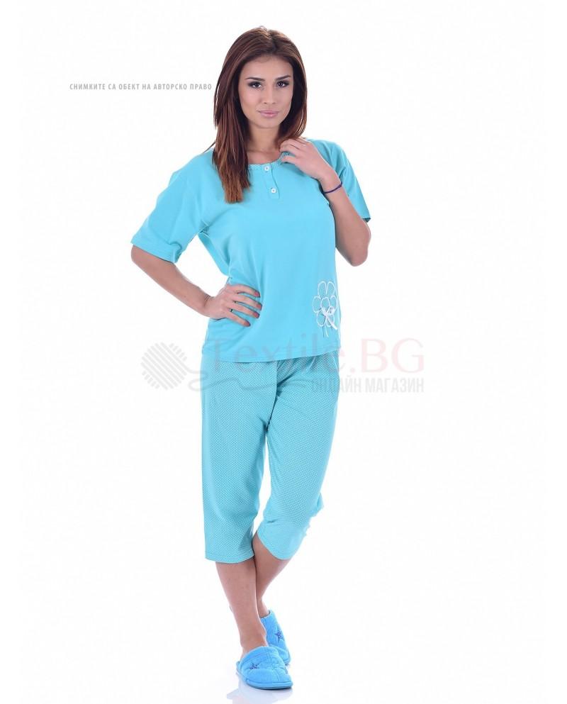 Памучна дамска пижама къс ръкав с апликация цвете в три топли нюанса