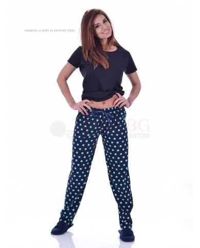 Памучен дамски панталон в три десена на точки със сатенена панделка