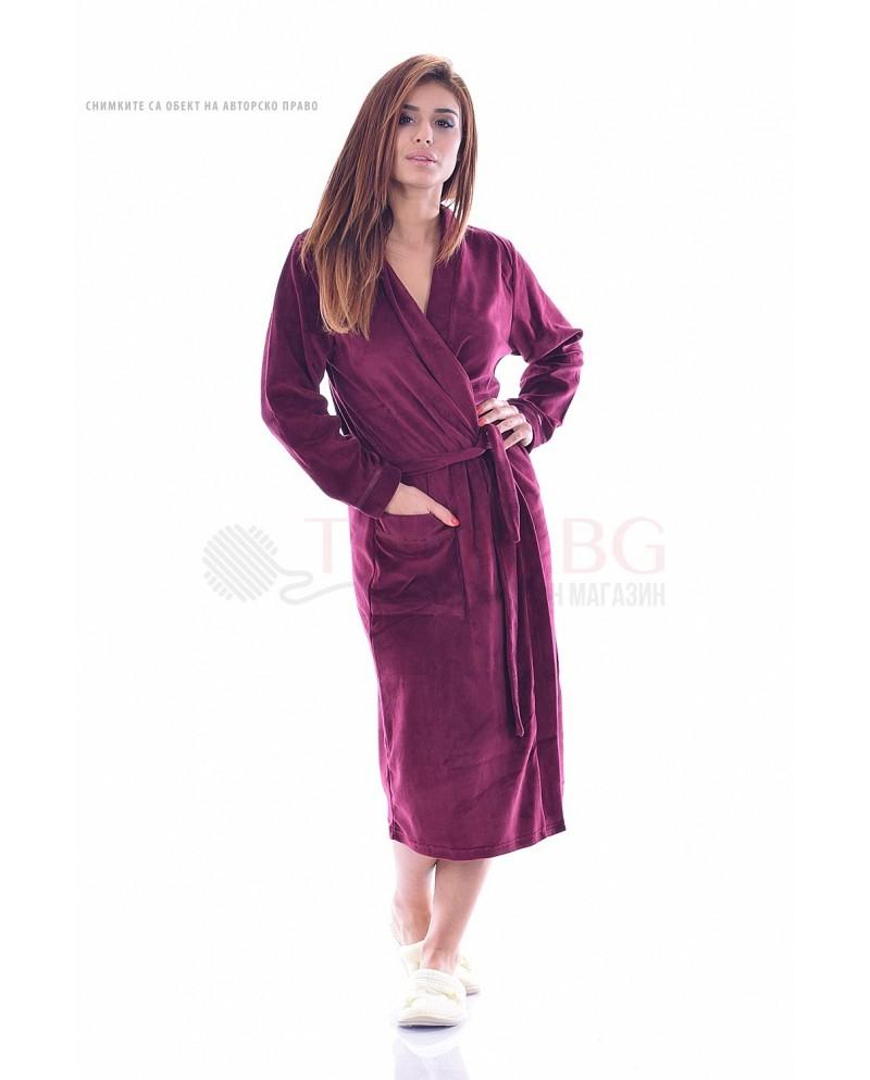 Комфортен дамски халат плюш в три цвята с голям джоб