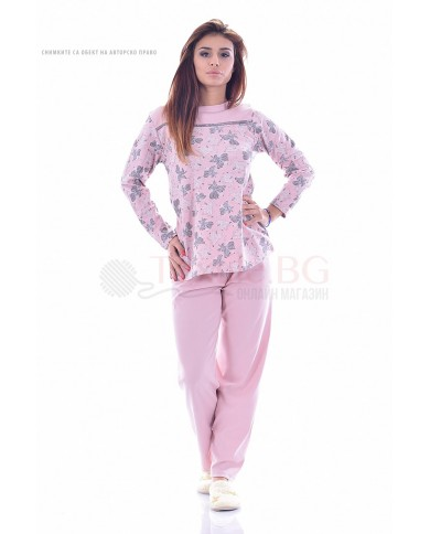 Елегантна дамска пижама с изящни листенца в три цвята