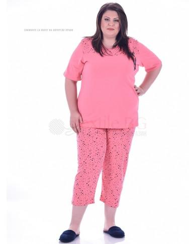 Памучна макси пижама къс ръкав малки звездички в три цвята