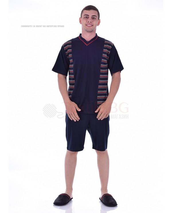 Mъжка пижама с къс ръкав в две комбинации с платки на райета