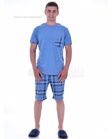 Mъжка пижама с къс ръкав в две комбинации с каре панталон и джоб