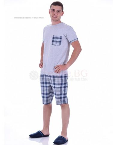 Mъжка макси пижама с къс ръкав в две комбинации с каре панталон и джоб