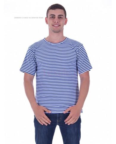 Mъжка моряшка тениска плетено райе бяло и синьо