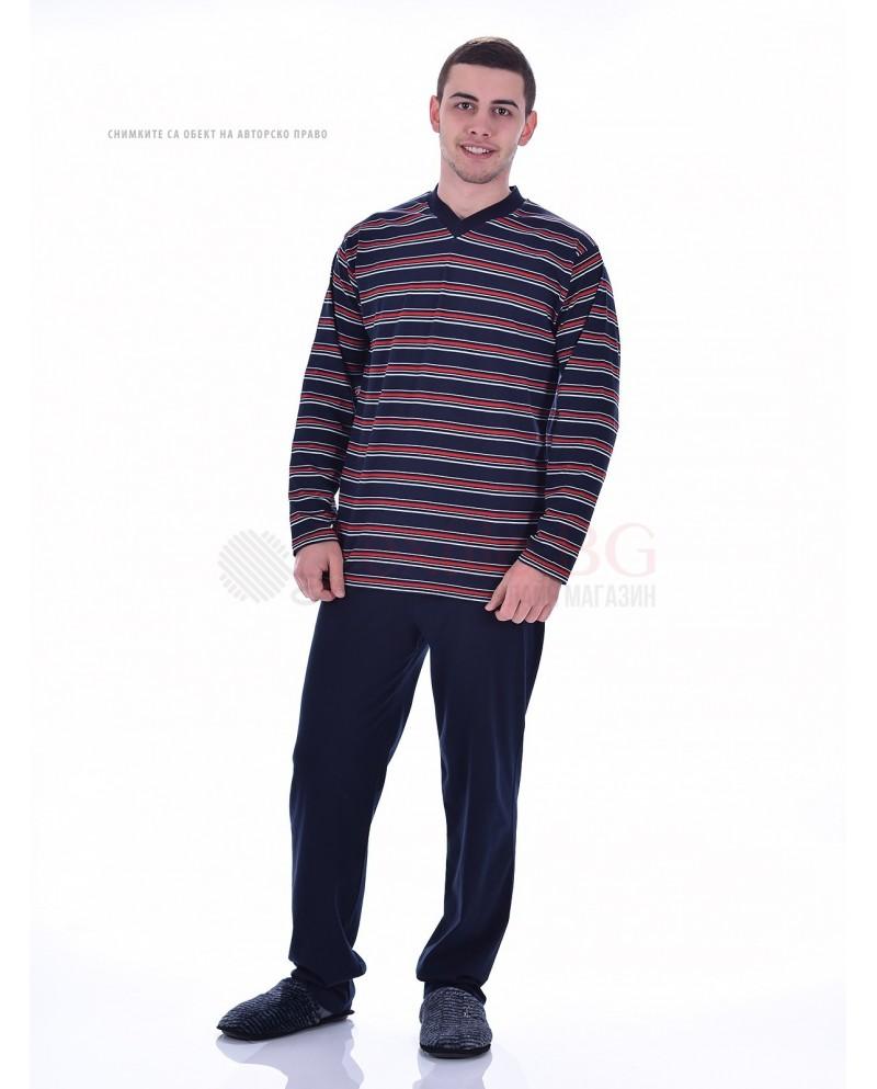 Мъжка памучна пижама раета с остро деколте в три цвята