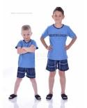 Детска пижама момче къс ръкав в три комбинации с каре панталон
