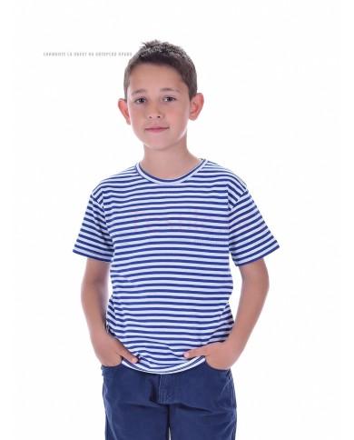 Детска моряшка тениска къс ръкав плетено райе бяло и синьо