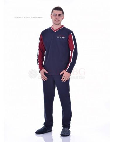 Мъжка памучна пижама с шпиц деколте в три цветови комбинации