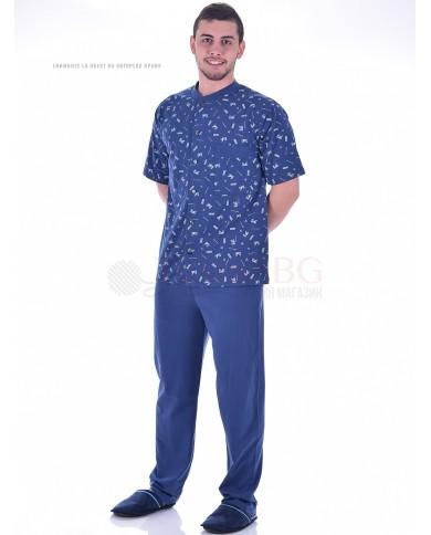 Мъжка пижама къс ръкав с цяло закопчаване и джоб в две цветови комбинации