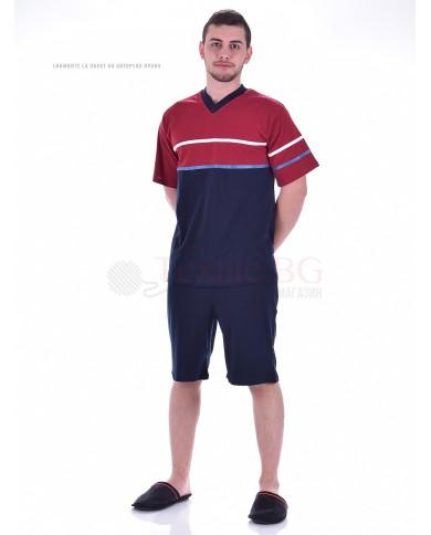 Kомфортна мъжка пижама с къс ръкав в двуцветна комбинация с ленти и остро деколте