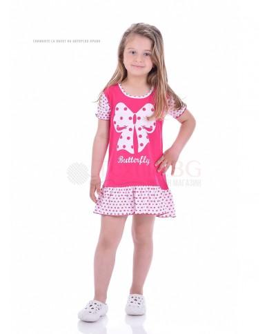 Детска нощничка къс ръкав с красива пеперудена панделка в четири цвята