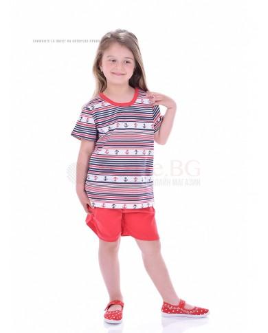 Детска пижама момиче къс ръкав с мотив котвички
