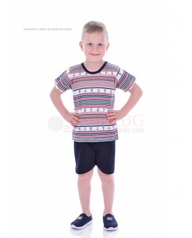 Детска пижама момче къс ръкав с мотив котвички