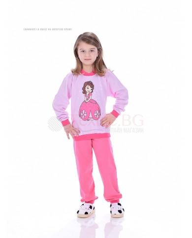 Детска памучна пижама момиче със ситопечат в три цветови комбинации