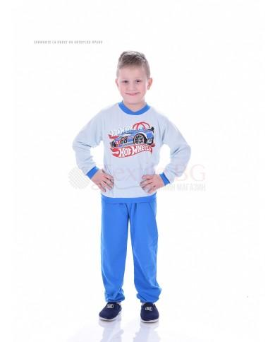 Детска памучна пижама момче със ситопечат в три цветови комбинации