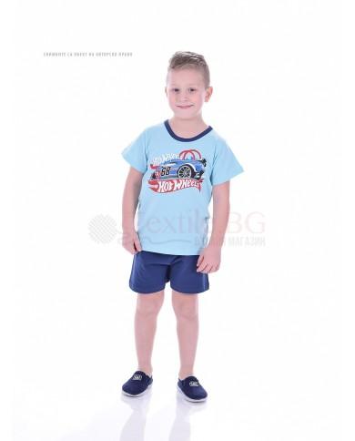 Детска пижама момче къс ръкав със ситопечат в две пъстри комбинации