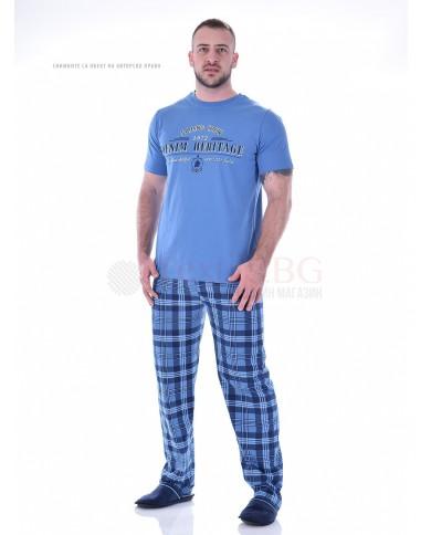 Mъжка пижама с къс ръкав и дълъг каре панталон в три комбинации