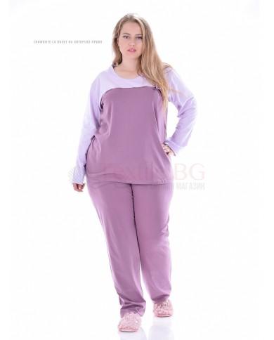 Семпла макси пижама със сатенена лента и панделка