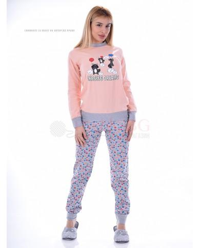 Памучна дамска пижама с щампа еноти в четири комбинации