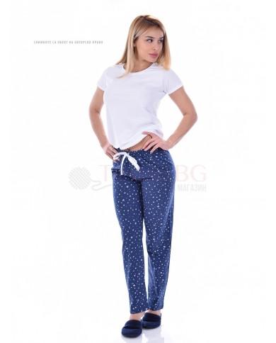 Памучен дамски панталон в пет десена на звезди със сатенена панделка