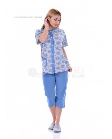 Дамска пижама къс ръкав с цяло закопчаване в две цветови комбинации