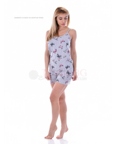 Дамска лятна пижама потник и къс панталон с красиви пеперуди