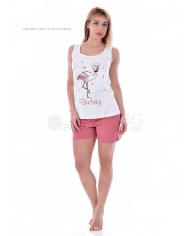 """Лятна дамска пижама с потник и къси панталони """"Фламинго"""""""