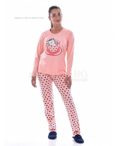 Дамска пижама с декорация котенце в три комбинации