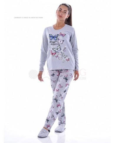 Дамска пижама дълъг ръкав с красиви пеперуди
