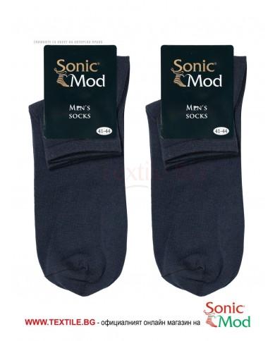 Тъмно сини мъжки чорапи с къс конч памук/ликра СОНИК МОД