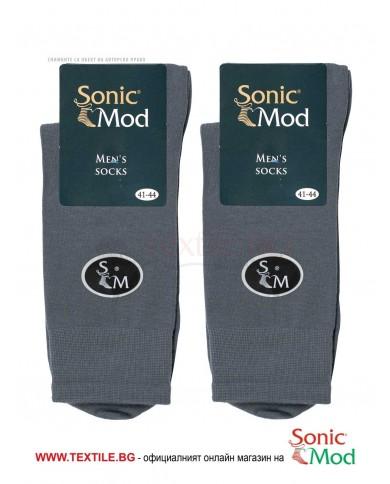 Тъмно сиви мъжки чорапи памук/ликра СОНИК МОД
