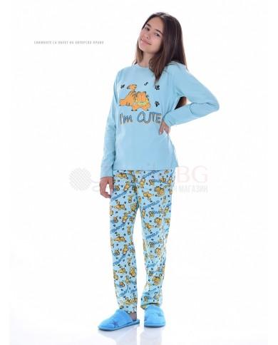 Юношеска пижама за момиче дълъг ръкав Гарфилд