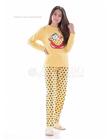 Юношеска пижама за момиче с декорация котенце в две комбинации