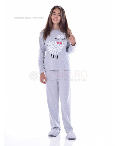 Юношеска пижама за момиче интерлог с декорация овца