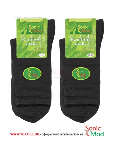 Черни мъжки чорапи бамбук/ликра СОНИК МОД