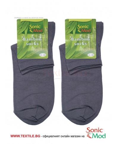 Тъмно сиви мъжки чорапи с къс конч бамбук/ликра СОНИК МОД