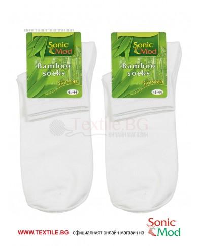 Бели мъжки чорапи с къс конч бамбук/ликра СОНИК МОД