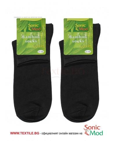 Черни мъжки чорапи с къс конч бамбук/ликра СОНИК МОД