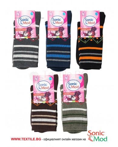 Комплект от 5бр.дамски шарени термо чорапи от памук/ликра СОНИК МОД