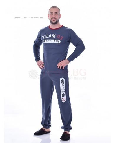 Удобна мъжка пижама интерлог с маншети в две комбинации