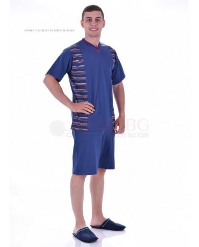 Мъжка макси пижама с къс ръкав в две комбинации с платки на райета