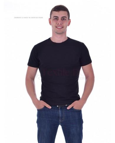 Мъжка тениска памук-ликра черна с тънко бие