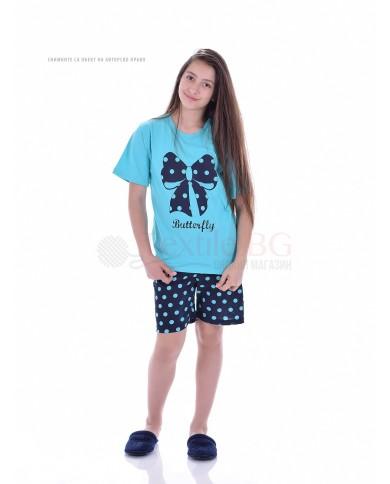 Юношеска пижама момиче къс ръкав с красива пеперудена панделка